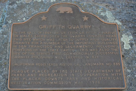 Penryn, CA: Historical Site Marker for Griffith Quarry