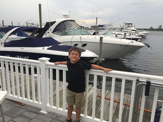 Eventide Grille: My grandson enjoying the boats!