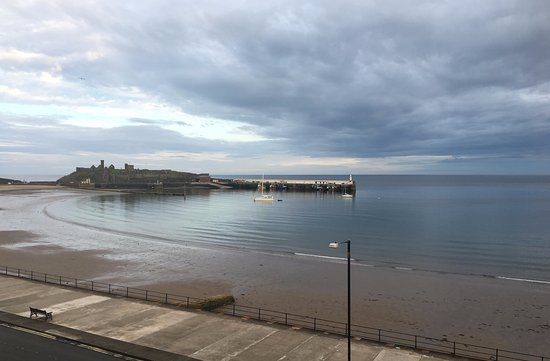 The Fernleigh : Boardwalk, Peel Castle and the Irish Sea - the view out our window