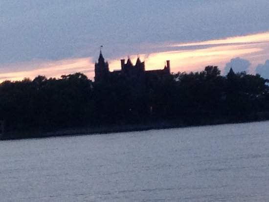 Capt. Thomson's Resort : Boldt Castle/Heart Island silhouetted at sunset from our balcony