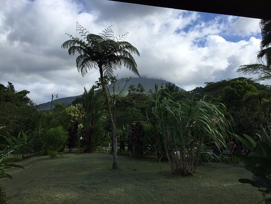 Volcano Lodge & Springs: view of Arenal Volcano from back porch