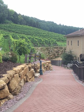 Prairie du Sac, Висконсин: Gorgeous buildings, hills and vineyard