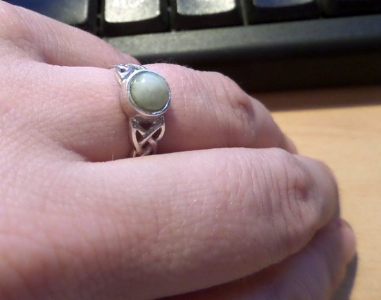 Isle of Iona, UK: A Celtic style ring from Pebbles with inlaid Iona marble