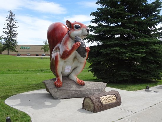 "Statue of ""ED"" the Red Squirrel in Edson's Park Near Hotel"