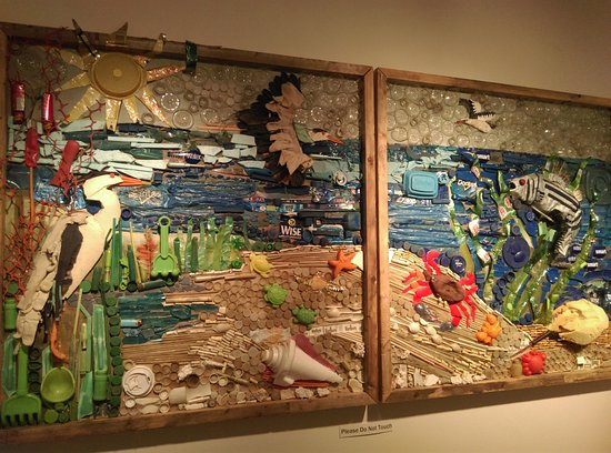 Morris Museum : Hard to believe that this brightly colored piece of art is entirely composed of ocean trash.