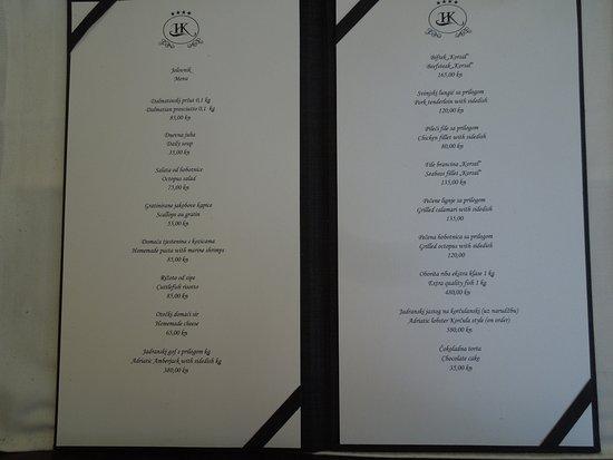 Hotel Korsal: The menu