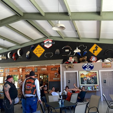 Leakey, TX: Large covered eating area - garage doors at both ends open up.