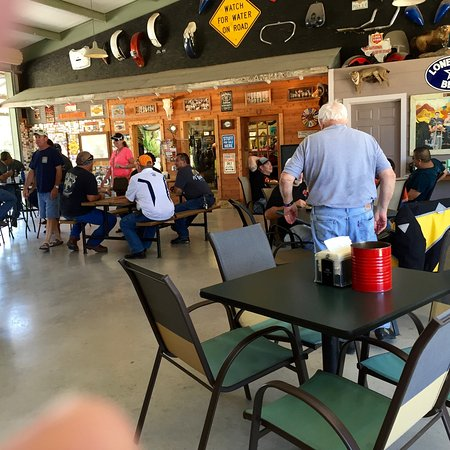 Leakey, TX: Large covered area with lots of Harley and beer items!