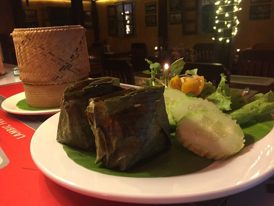 Restaurant The House, LAO FOOD and Western: 100% Lao Food, Fish in Banana Leaves