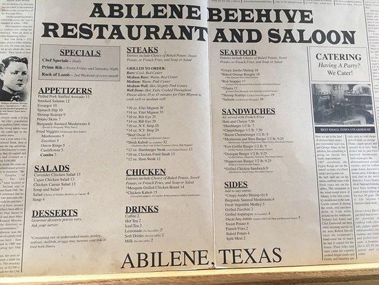 The Beehive : Menu as of July 31, 2016