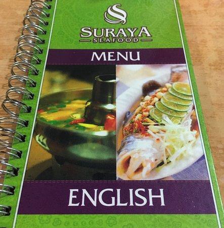Kampung Baru Hawker Stalls: Cover page of the English menu at Soraya Seafood