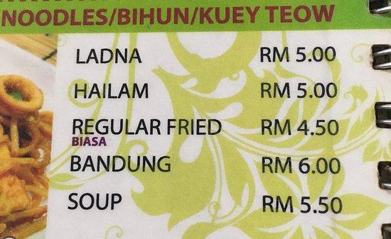 Kampung Baru Hawker Stalls: Menu - noodles section