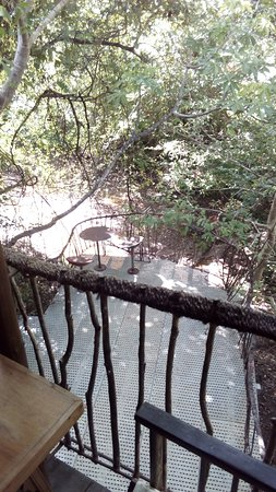 Galkadawala Forest Lodge : the edge of the dining area with a bar table and chairs made from scratch