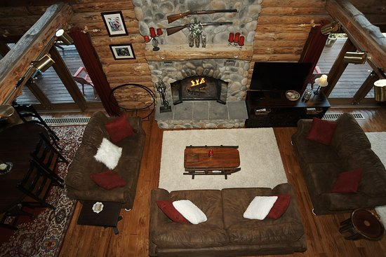 Florida, MA: Woodburning fireplace in Main Lodge