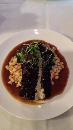 One Fish, Two Fish Restaurant: Charred Leek Fennel dusted Atlantic Cod, cannellini beans, demi glace