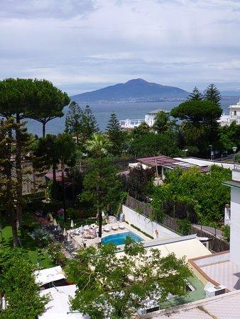هوتل هوتل إيدن: uitzicht over het terrein van het hotel op de Vesuvius