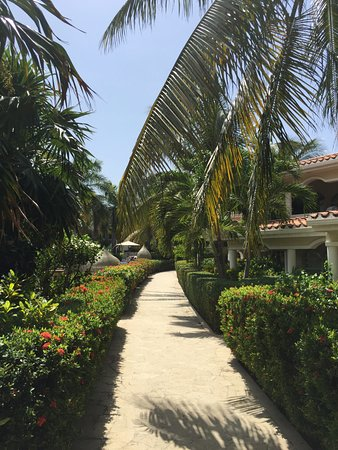 Mayan Princess Beach & Dive Resort: walk between the pool area and the hotel rooms