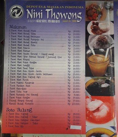 Daftar Menu Makanan Juga Tersedia Foto Nini Thowong Restaurant