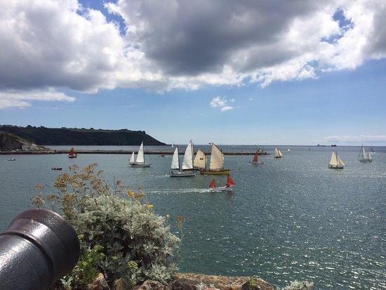 Plymouth Sound: Classic boats race past Mount Batten Pier