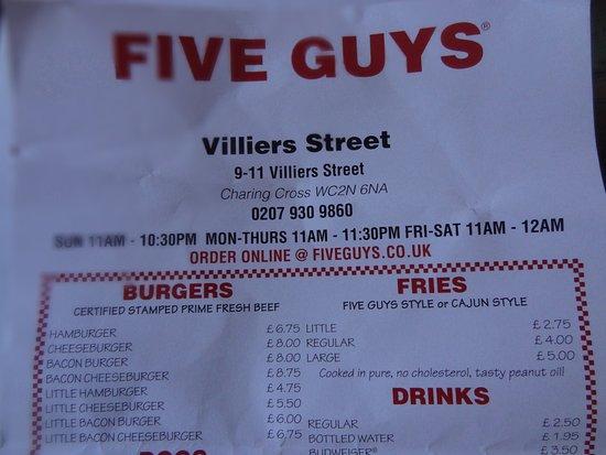 Five Guys Menu A Bit Pricey