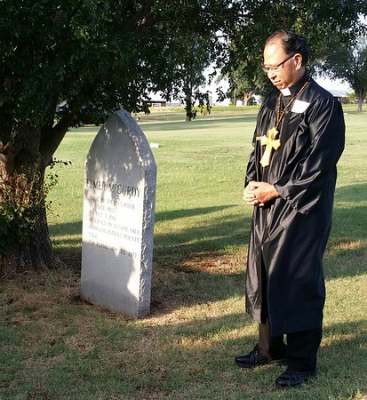 The Stone Lion Inn: Portraying Father Joe at Mccurdy graveside memorial serevice