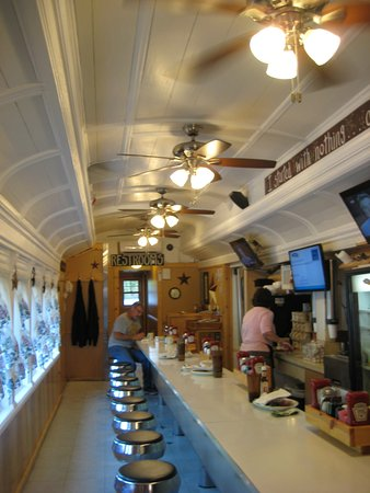 Alexandria, PA: View of the counter in the original railroad car diner