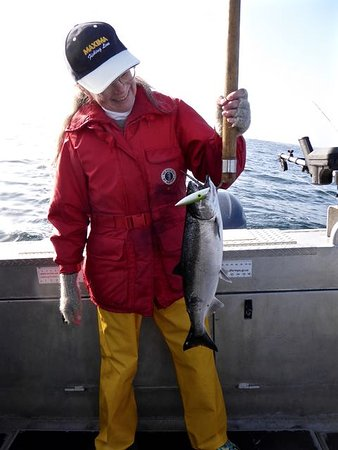 Trailhead Resort: Happy guest with salmon