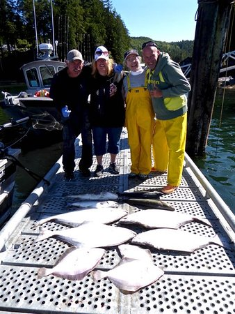 Trailhead Resort: Assorted day's catch & happy anglers with guide