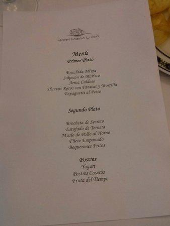 Hotel Maria Luisa: Menú de un almuerzo