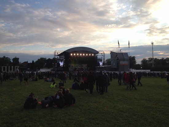 Dour, Belgium: The Last Arena, main stage at the Festival during sunset