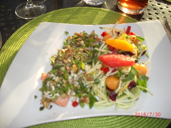 Haimps, France : Salmon with courgettes & fresh fruits.