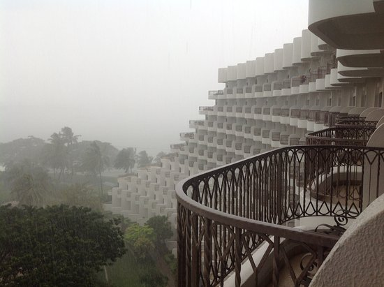 Shangri-La's Rasa Sentosa Resort & Spa: Taken from our balcony during spectacular downpour