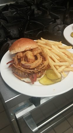 New Ulm, MN: homemade onion rings on a buger!