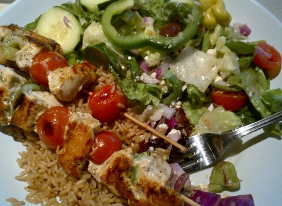Zo S Kitchen Chicken Kabobs grilled chicken kabobs with rice and greek salad - picture of zoes