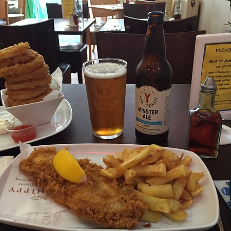 Mr Chippy Restaurant: The smaller portion of fish 'n' chips with onion rings on the side.