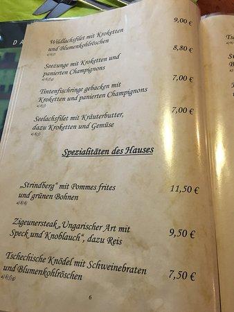 Nossen, Alemanha: Auszug aus Speisekarte