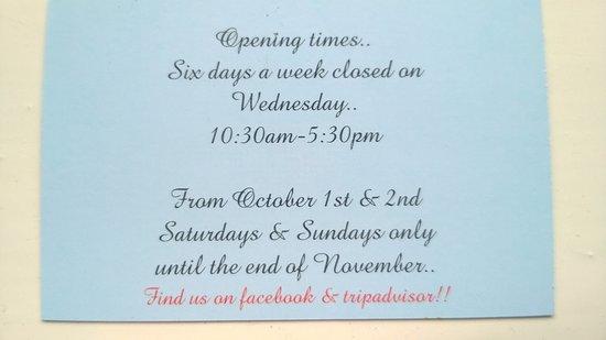 Amberley, UK: Opening Times