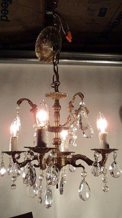 Wolff's Flea Market: fancy brass and crystal chandelier
