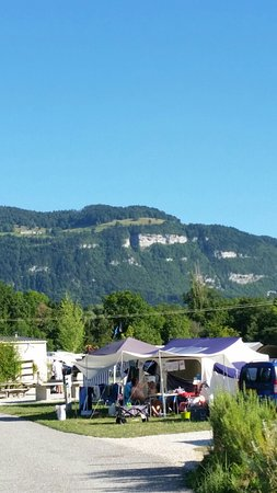 Camping La Colombière : View from pitch towards Mont Seleve