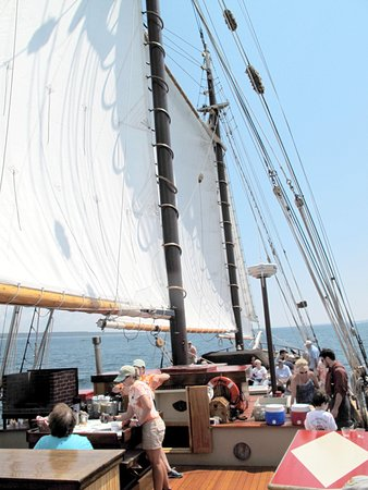 Mystic Whaler Cruises : All sails up and preparing for lunch.