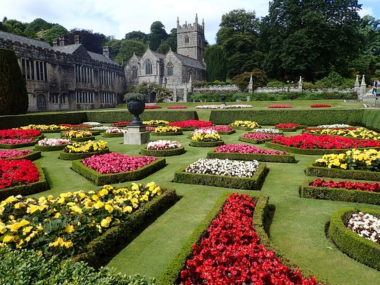 The Parterre, Lanhydrock, with Chapel in the background - Picture ...