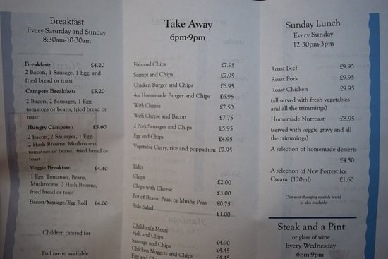 Sixpenny Handley, UK: Food menu