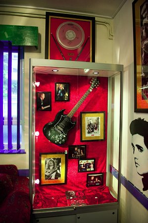Saltash, UK: Memorabilia donated by major bands