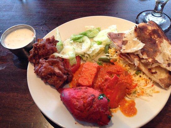 Tandoor Indian Restaurant: My buffet plate: Naan bread, green salad, Aloo Tikki with raita, butter chicken, Tandoor chicken