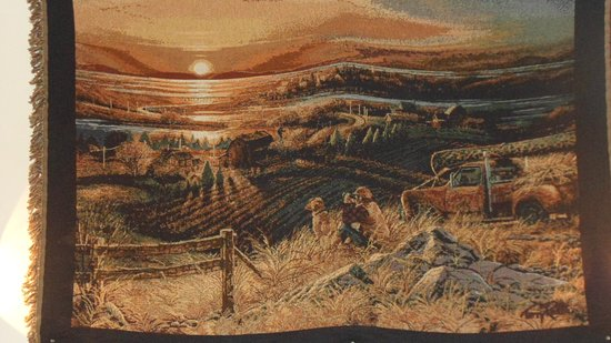 Fairfield, MT: closeup of a tapestry