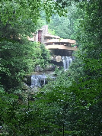 Fallingwater: picture taken from the iconic viewing location along one of the pathways on the property