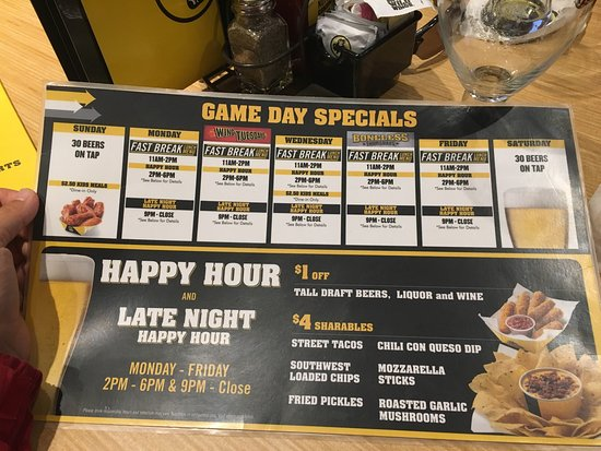 Various late night happy hour food specials DRINKS: Various late night happy hour drink specials *Food & Drink Specials May Vary By Location.
