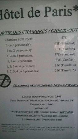Hotel De Paris Dijon : Tarification affichée à la porte de la chambre