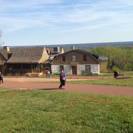 Thomas Jefferson's Monticello: outbuildings looking out from mountain