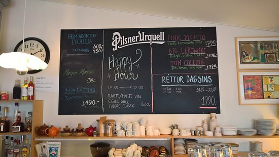 Álafoss Café: Menu in the bar
